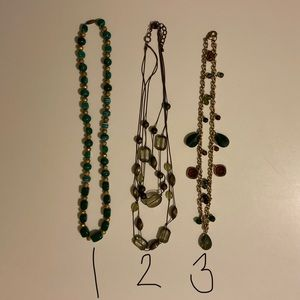 Fashion lot of 3 green beaded necklaces